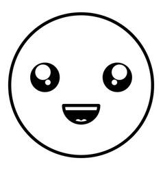 Happy face emoticon character vector