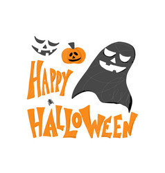 Happy halloween flat signs simple design vector