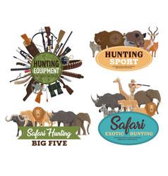 Hunting animals hunter equipments and guns vector