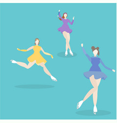 ice skating girls vector image