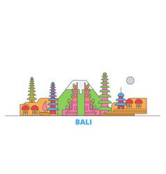 Indonesia bali line cityscape flat vector