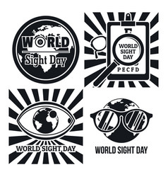 International sight day banner set simple style vector
