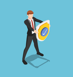 Isometric businessman is holding a shield vector