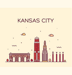 kansas city skyline missouri usa line city vector image