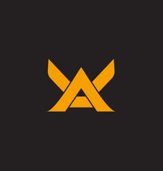 Letter ak wings shape simple geometric logo vector