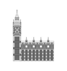 Line london clock tower architecture design vector