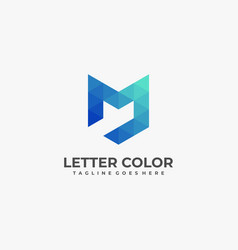 logo abstract letter m low poly vector image