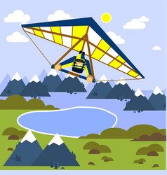 man is flying a hang glider style flat vector image