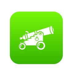 Menacing cannon icon green vector