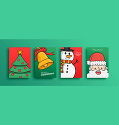 merry christmas cute cartoon santa claus card set vector image