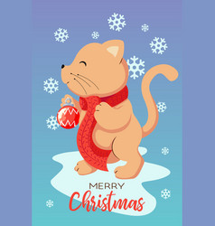 merry christmas greeting card with a ginger cat vector image