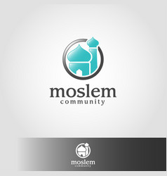 Moslem or muslim - islamic mosque logo template vector
