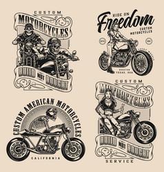 motorcycle vintage designs composition vector image