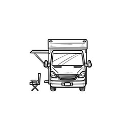 Motorhome with tent hand drawn outline doodle icon vector