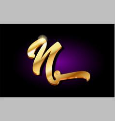N alphabet letter golden 3d logo icon design vector
