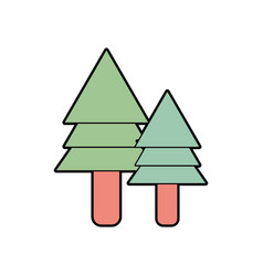 natural pine trees botany icons vector image