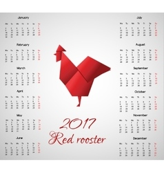 New year calendar with chinese symbol Red Rooster vector