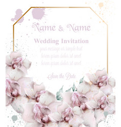 orchid flowers wedding card watercolor vector image