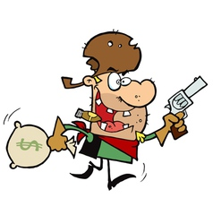 Outlaw Cowboy Steals Money vector image