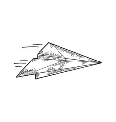 Paper airplane fly sketch engraving vector