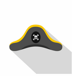 Pirate hat icon flat style vector
