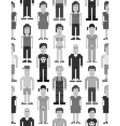 Pixel people seamless pattern vector