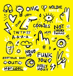 Positive and funny doodle sticker set in black vector
