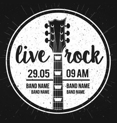 Poster for a live rock music festival with guitar vector