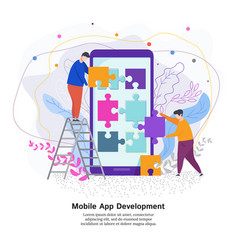 process of developing a mobile application vector image