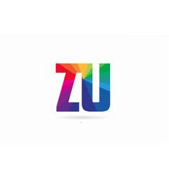 rainbow colored alphabet combination letter zu z vector image
