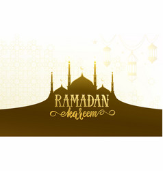 ramadan greeting banner with islamic mosque vector image