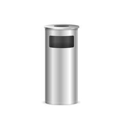 realistic detailed 3d metal trash bin vector image