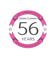realistic fifty six years anniversary celebration vector image