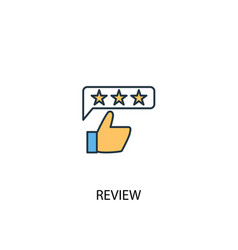 Review concept 2 colored line icon simple yellow vector