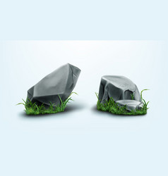 rocks parts boulders and gray stones with grass vector image