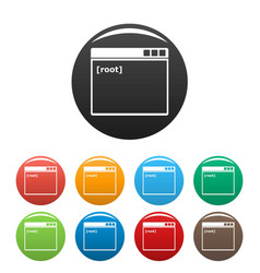 Root window icons set color vector