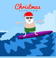 Santa claus surfing christmas summer vacation vector