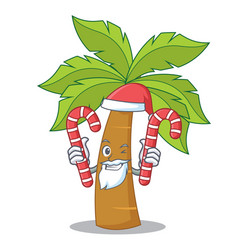Santa with candy palm tree character cartoon vector