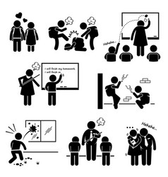 school education social problem student teacher vector image