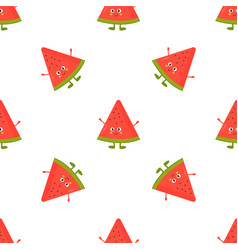 seamless pattern with funny watermelons vector image