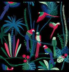 seamless pattern with parrots in the jungle vector image