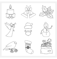 Set Christmas Thin Line Icons vector image