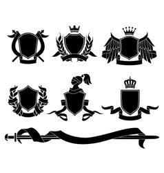 set heraldic black emblems vector image