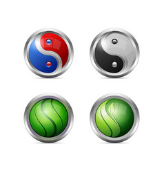 set of colorful shining yin yang icons eps10 vector image