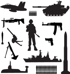 silhouettes of armed forces vector image