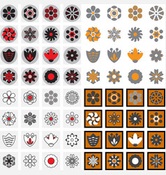 simple flower icons of different shapes vector image