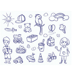 Sketch of kids dreams hand drawn girl boy toys vector
