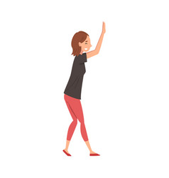 Smiling girl giving high five young woman vector