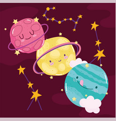 space cute planets galaxy constellation stars vector image