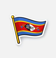 Sticker national flag swaziland vector